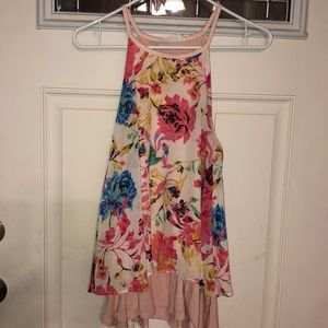 Peach Love Floral Print Sleeveless Blouse